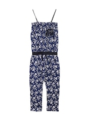 naughty ninos Girls Navy Printed Jumpsuit