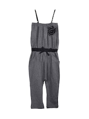 naughty ninos Girls Grey Melange Jumpsuit
