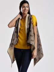 Fabindia Brown Silk Handblock Print Shrug