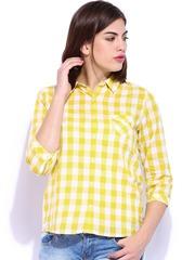 U.S. Polo Assn. Women Yellow & White Checked Shirt