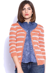 Lee Peach-Coloured Striped Cardigan