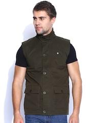 Peter England Casuals Brown Sleeveless Jacket