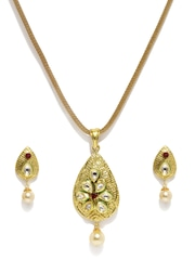 Sukkhi Gold-Plated Stone-Studded Earrings & Pendant Set with Chain