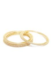 Sukkhi Set of 4 Gold-Plated AD Stone-Studded Bangles