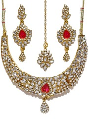 Sukkhi Gold-Plated Stone-Studded Jewellery Set with Interchangeable Centre Stone