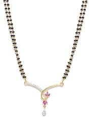 Sukkhi Black & Gold-Plated Stone-Studded Mangalsutra