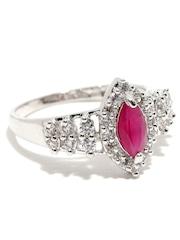 Sukkhi Silver-Toned Rhodium-Plated CZ Stone-Studded Ring