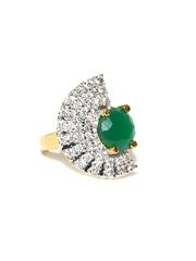 Sukkhi 18K Gold-Plated CZ Stone-Studded Ring