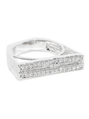 Sukkhi Silver-Toned Rhodium-Plated CZ Stone-Studded Trapeze Ring