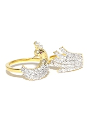 Sukkhi Silver-Toned Gold & Rhodium-Plated CZ Stone-Studded Dual Finger Ring