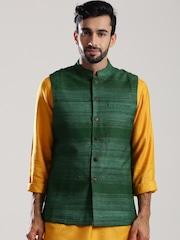 Fabindia Green Silk Nehru Jacket