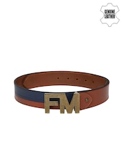 Flying Machine Men Tan Brown & Blue Leather Belt