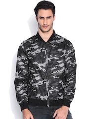 Flying Machine Black & Grey Camouflage Print Jacket