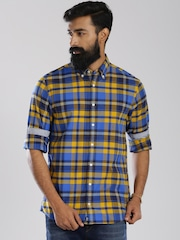 Tommy Hilfiger Blue & Yellow Checked New York Fit Casual Shirt