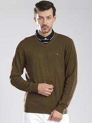 Tommy Hilfiger Men Olive Sweater