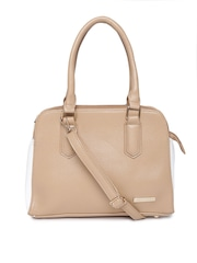 Lino Perros Beige Textured Handbag with Sling Strap