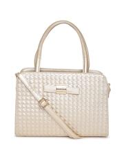 Lino Perros Gold-Toned Basket Weave Patterned Handbag