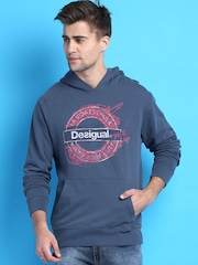 Desigual Navy Printed Hooded Sweatshirt