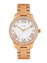 GUESS Women White Textured Dial Embellished Watch W0444L3
