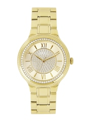 GUESS Women Gold-Toned Shimmery Dial Watch W0637L2