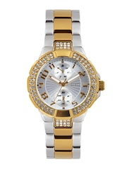 GUESS Women Silver-Toned Dial Embellished Watch W15072L3