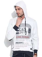Cloak & Decker by Monte Carlo Grey Melange Printed Hooded Sweatshirt