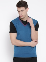 Arrow Sport Blue Men Solid Sleeveless Sweater