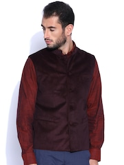 Arrow Maroon Printed Body Tailored Fit Waistcoat