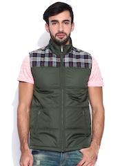 Peter England Casuals Green Padded Sleeveless Jacket