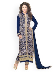 Kvsfab Navy Embroidered Unstitched Dress Material