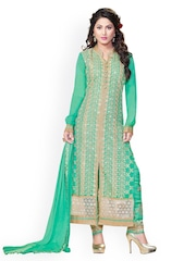Kvsfab Green Embroidered Unstitched Dress Material