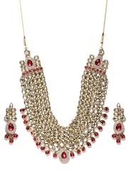 Zaveri Pearls Gold-Toned & Pink Jewellery Set