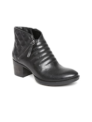 Clarks Women Black Leather Heeled Boots