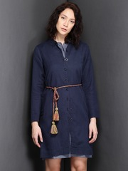 Suo Navy Linen Tucks Jacket