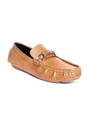 San Frissco Men Tan Brown Leather Loafers