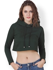 Texco Green Crop Hooded Sweatshirt