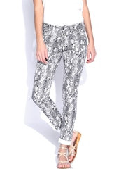 SF JEANS by Pantaloons Off-White Printed Skinny Trousers