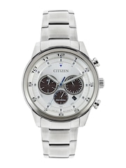 Citizen Men Silver-Toned Dial Eco-Drive Chronograph Watch CA4034-50A