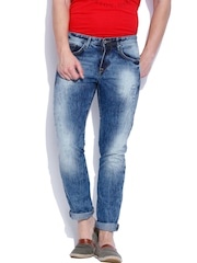 Allen Solly Blue Comfy Tapered Fit Jeans