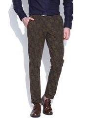 Jack & Jones Brown Printed Casual Trousers