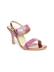 DressBerry Women Pink Snakeskin Print Slim Heels
