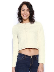 United Colors of Benetton Cream-Coloured Crop Jacket
