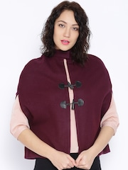 United Colors of Benetton Maroon Cocoon-Shaped Jacket