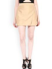 Miss Chase Beige Silk A-Line Skirt