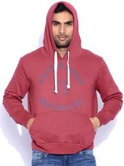 Franco Leone Red Printed Hooded Sweatshirt