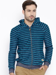 United Colors of Benetton Blue Striped Hooded Sweatshirt