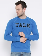 United Colors of Benetton Blue Printed Sweatshirt