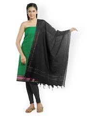 Platinum Green & Black Cotton Unstitched Dress Material