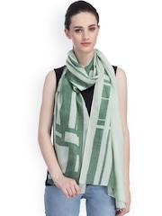 CoolThreads Green Printed Silk & Woollen Stole
