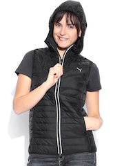 PUMA Black Sleeveless Slim Fit Hooded Jacket